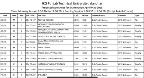 Ptu Mba Date Sheet by Ptu Date Sheet 2018 April May Semester Time Table Pdf