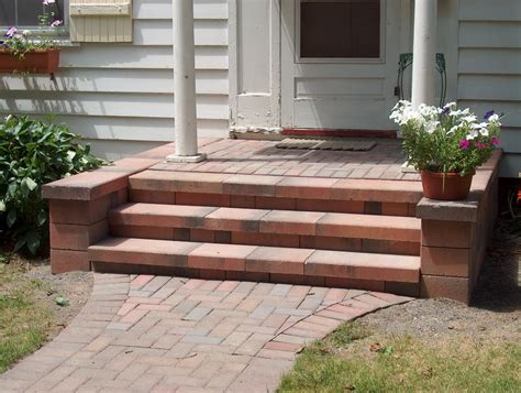 Patio Steps Design Front Porch Step Designs With Naturan Brick Front