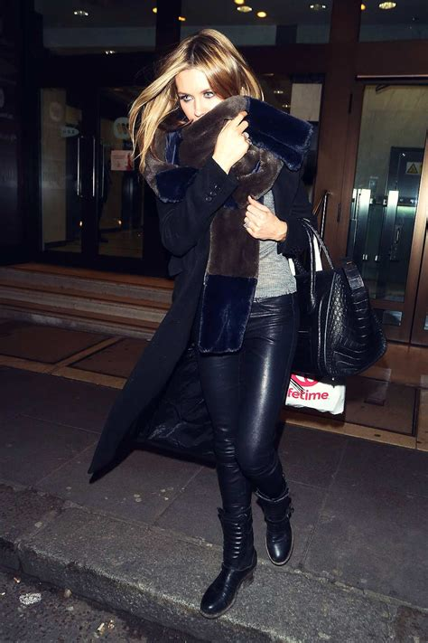 abbey clancy  britains  top model lunch leather