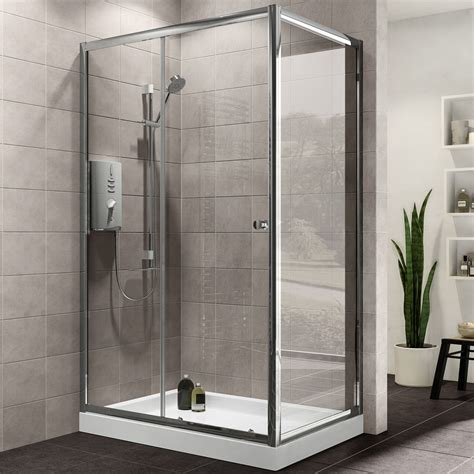 Shower Doors And Enclosures Plumbsure Rectangular Shower Enclosure With Single Sliding Door W 1200mm D 760mm Departments