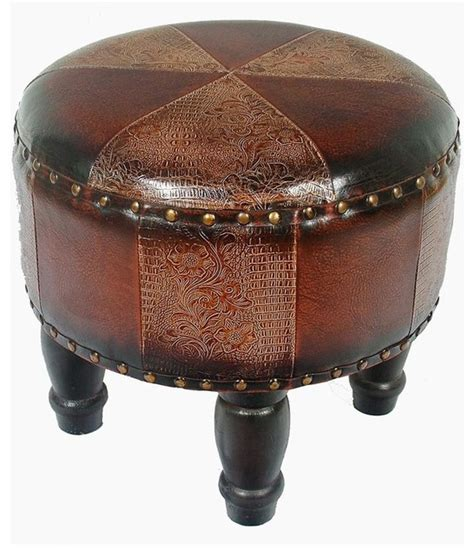 Small Ottomans And Footstools Faux Leather Small Mix Pattern Ottoman Traditional