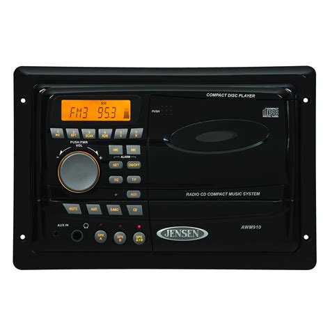 in wall radio for bathroom jensen awm910 wall mounted am fm cd stereo black rv parts