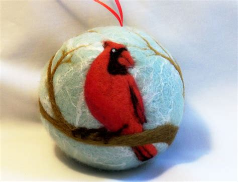 needle felted christmas ornament male cardinal in tree