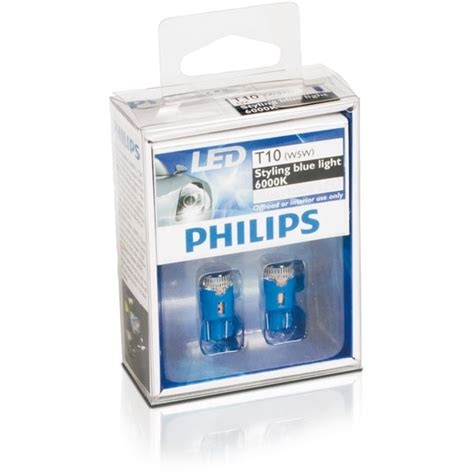 Lu Philips Blue Vision 2 oules philips blue vision led 6000k w5w feu vert