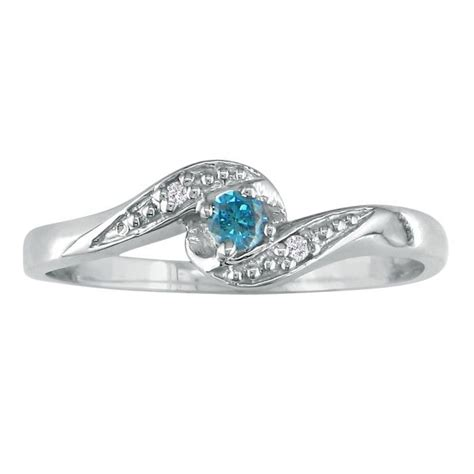 08ct bypass blue promise ring in 10k white gold