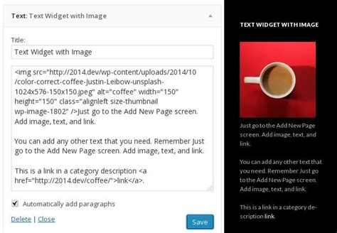 text layout wordpress plugin add html images and links to text widgets without a plugin