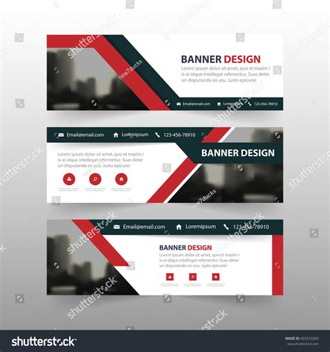 horizontal layout web design red black triangle corporate business banner stock vector