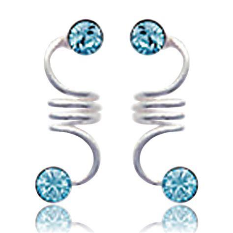 Boucles d'oreilles Femme horizon équilibre cyan Argent Turquoise