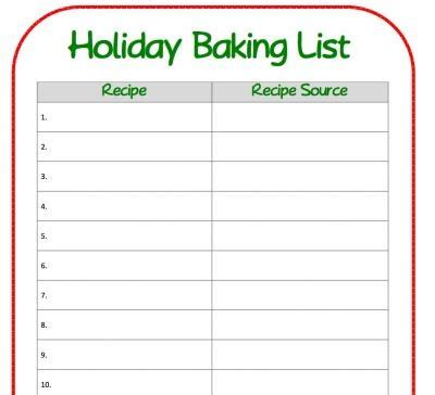 printable holiday baking list holiday baking list great idea for keeping me organized