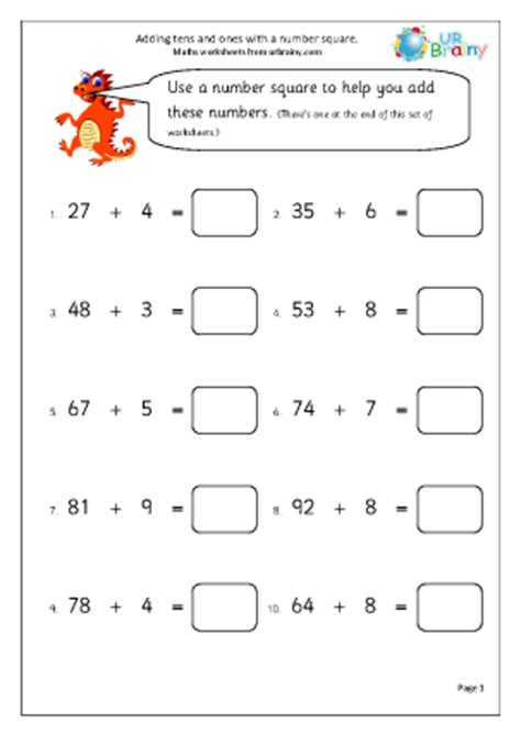 add tens and units addition maths worksheets for year 2