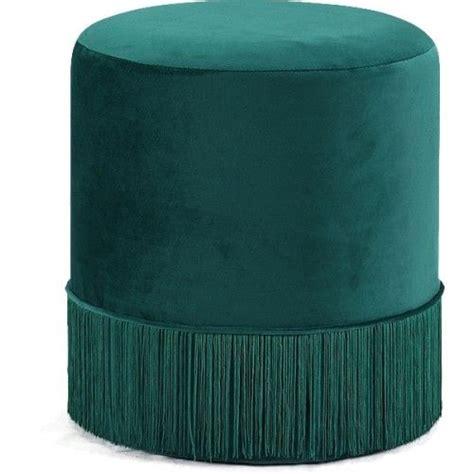 green fringed  velvet ottoman footstool recyclage