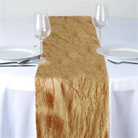 wedding table runners gold taffeta crinkle table runner gold efavormart