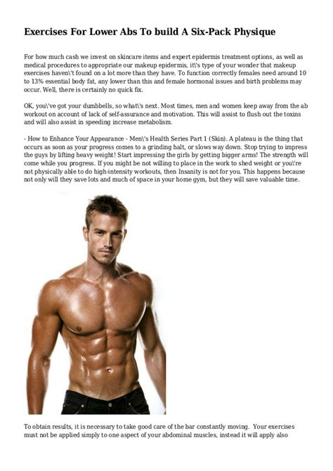 exercises for lower abs to build a six pack physique