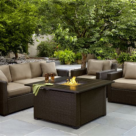 Agio International Moore Haven Woven Square Gas Firepit Patio Set With Gas Pit Table
