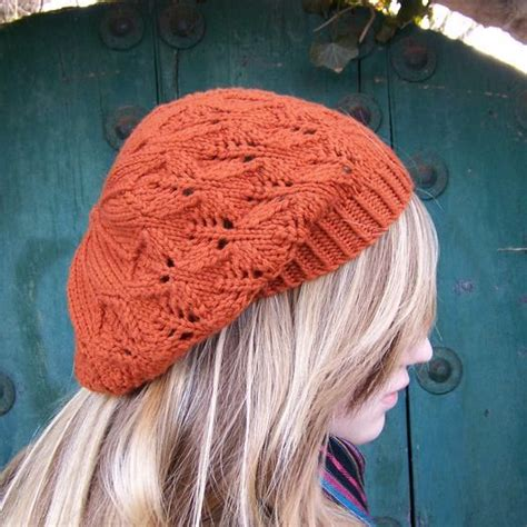 knit pattern leaf hat falling leaves beret slouch hat knitting patterns and