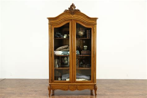 china cabinet glass doors french antique carved fruitwood armoire bookcase or china