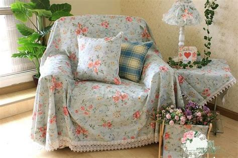 Floral Slipcovers Country Floral Blue Chair Sofa Loveseat Throw Cover