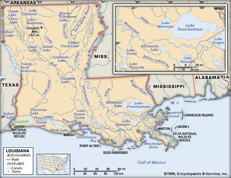 louisiana map geography louisiana physical features encyclopedia