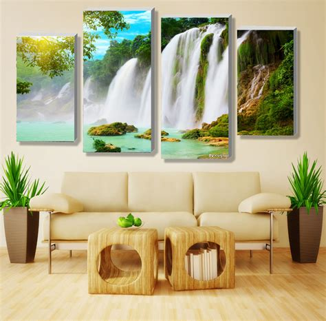 aliexpress com buy 4 panel waterfall and green lake aliexpress com buy 4 panel sets beautiful waterfall