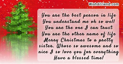 person  christmas message  sister