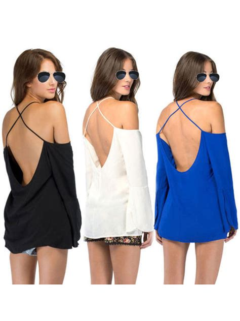 44723 Black Halter Styled S M L Blouse Le121217 Import Buy Halter Cross Back Straps Blouse Bazaargadgets