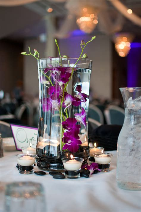 orchid centerpieces white purple wedding pinterest