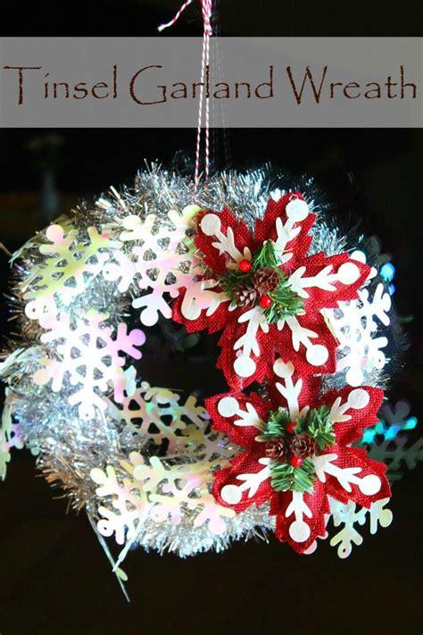 tinsel garland wreath tutorial