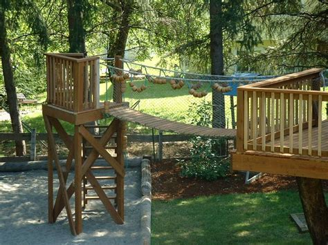 backyard rope bridge rope and wood bridge treehouse pinterest trees