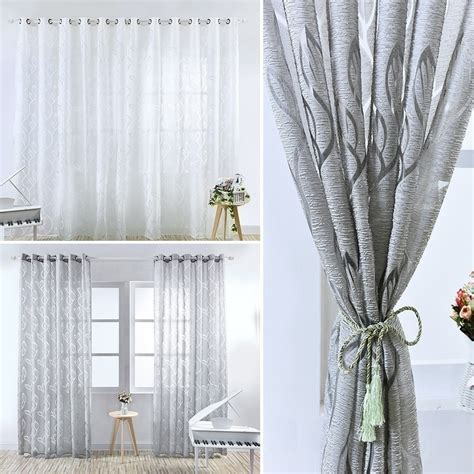 voile panel net curtain slot top simple style leaves pattern window door curtains