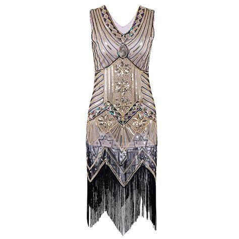 paillette sequins tassel dress v neck vest dresses