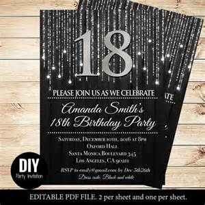 18th Birthday Invitation Templates by Black And Silver 18th Birthday Invitations 18th
