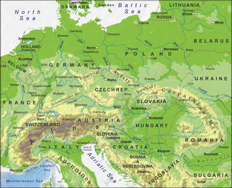 physical map of central europe physical features map of republic