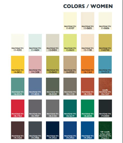 pantone color chart for 2014 2015