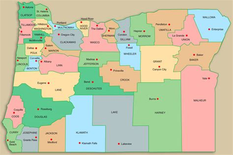 map of oregon with counties oregon association of community corrections directors