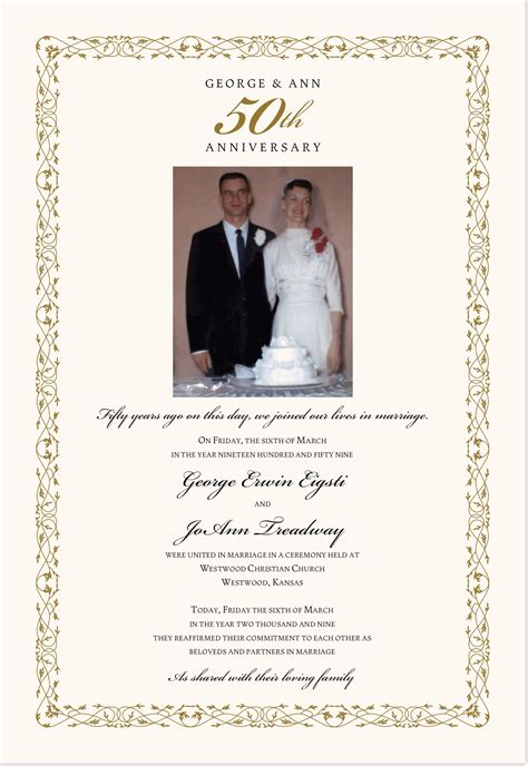 anniversary certificate template 50th wedding anniversary certificate renewal of vows