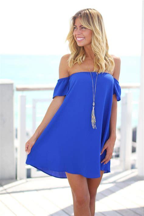 Royal Blue Off Shoulder Short Dress Royal Blue Short Blue On Shoulder