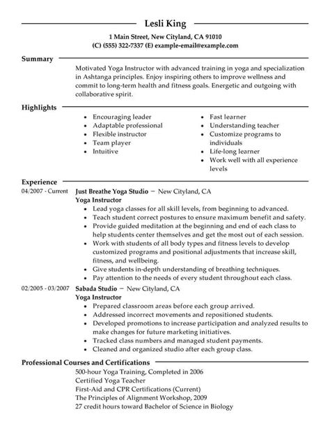 instructor resume format best instructor resume exle livecareer
