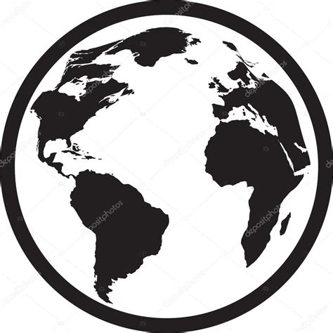 imagenes blanco y negro de la tierra icono de mundo blanco y negro vector de stock 73112585