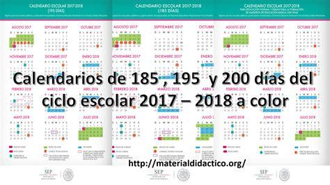 Calendario 2017 Dia A Dia Calendarios De 185 195 Y 200 D 237 As Ciclo Escolar 2017