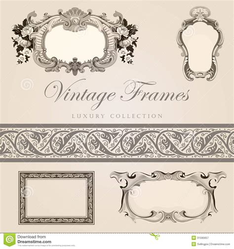 retro design template vintage frames with border royalty