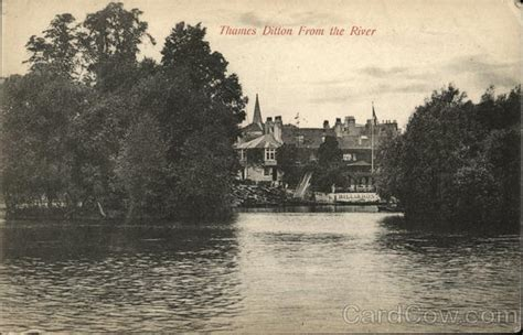 thames ditton river boats view of town from the river thames ditton england postcard