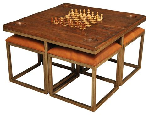 Mid Century Modern Chess Set by Low Game Table With Four Stools Midcentury Game Tables