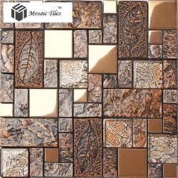 Kitchen Message Center Ideas wall tile deco mosaic art fossil leaf resin glass foil