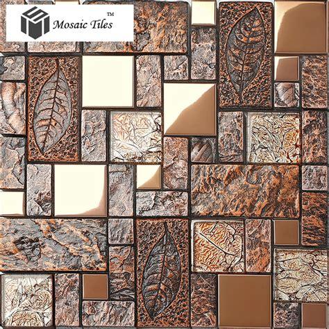 porcelain and glass tiles wall bathroom backsplash leaves wall tile deco mosaic art fossil leaf resin glass foil