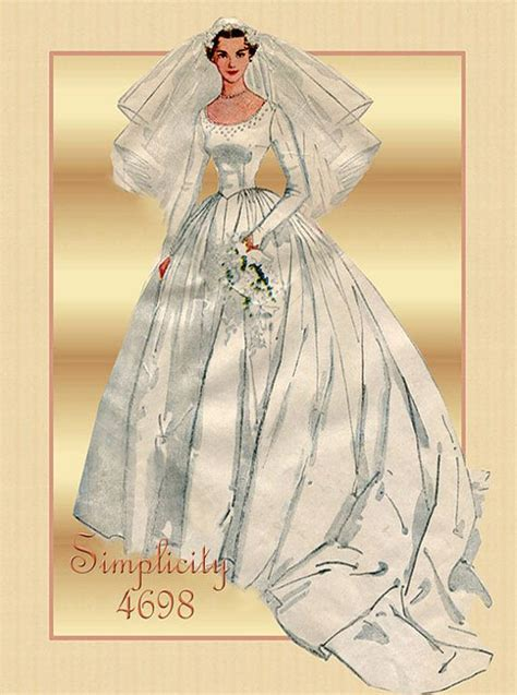 pattern dress with train 1950s wedding dress pattern simplicity 4698 bridal gown