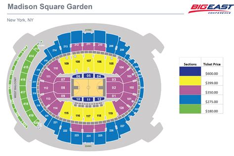 Square Garden Seating Map by 2014 Big East Men S Basketball Chionship Ticket Information Georgetown