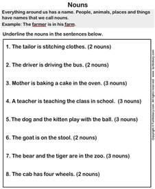 sentences with nouns worksheet turtle diary