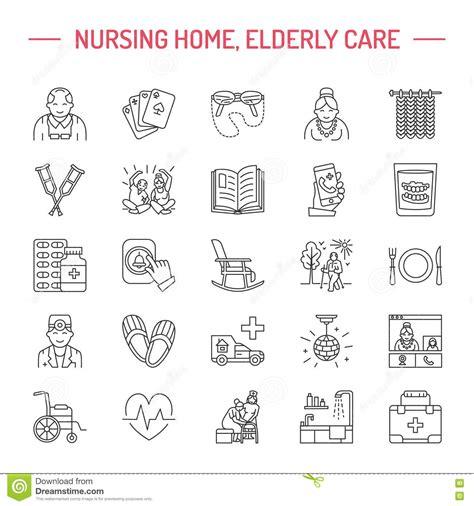 Nursing Home Design Plans by Modern Vector Line Icon Of Senior And Elderly Care Stock