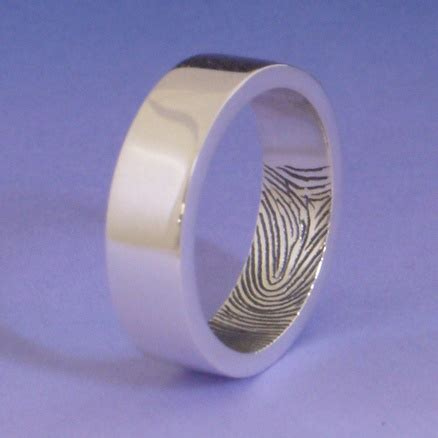 is the wedding band on the inside or outside fingerprint ring the womens fingerprint on the inside of