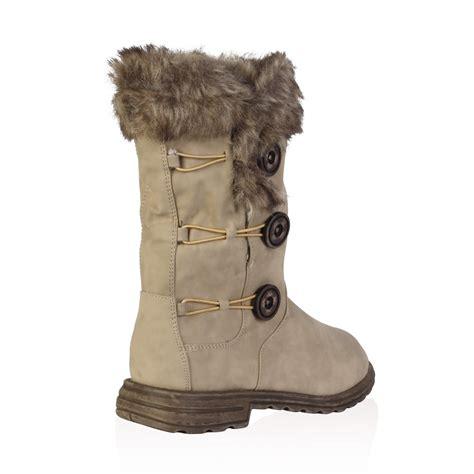 womens faux fur boots soft faux fur lined womens button winter snow calf
